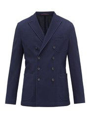 The Gigi Ziggy Double Breasted Knitted Cotton Blend Blazer Navy