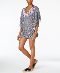 Bar Iii Feather Daze Printed Caftan Tunic Only At Macy's Women's Swimsuit Black White Multi