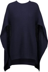 Autumn Cashmere Cape Back Ribbed Knit Sweater Midnight Blue