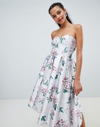 Chi Chi London Floral Printed Bandeau Midi Dress Multi