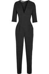 Emilia Wickstead Bela Pleated Wool Crepe Jumpsuit Black