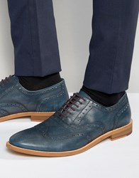 Dune Oxford Wing Tip Brogues Navy Leather Blue