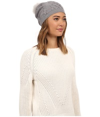 Ugg Isla Lurex Beanie W Fur Pom Grey Heather Multi Beanies Gray