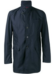 Fay Trench Coat Men Polyester S Blue