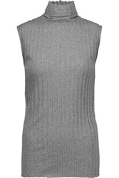 Enza Costa Ribbed Cotton And Cashmere Blend Turtleneck Top Gray