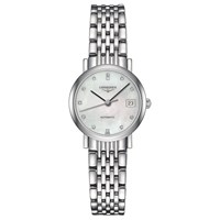 Longines L43094876 Women's Elegant Automatic Diamond Date Bracelet Strap Watch Silver Mother Of Pearl