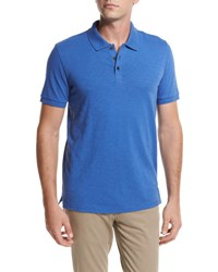 Vince Slub Cotton Polo Shirt Bright Blue