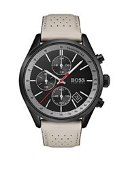 Hugo Boss Grand Prix Stainless Steel And Leather Strap Watch Taupe