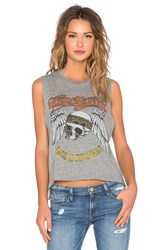 Lauren Moshi Kinzington Aerosmith Skull Crop Muscle Tank Gray