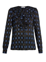 Sonia Rykiel Polka Dot Fil Coupe Silk Blend Blouse Black Blue
