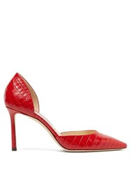 Jimmy Choo Esther 85 Crocodile Effect Leather D'orsay Pumps Red