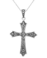 Genevieve And Grace Sterling Silver Necklace Marcasite Slide Cross Pendant