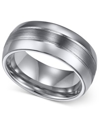 Triton Men's Ring 8Mm Classic Tungsten 3 Row Wedding Band