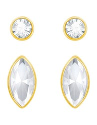 Swarovski Navette And Round Goldplated Stud Earrings Set