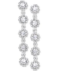 Jewel Badgley Mischka Crystal Flower Linear Drop Earrings Silver