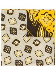 Al Duca D'aosta 1902 Multi Print Reversible Scarf Yellow Orange