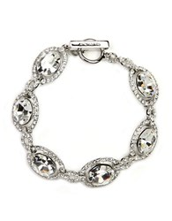 Givenchy Silver Tone Crystal Toggle Bracelet Clear