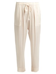 Raquel Allegra Drawstring Waist Satin Trousers Cream