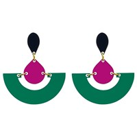 Toolally Fan Colour Block Drop Earrings Emerald Plum
