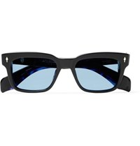 Jacques Marie Mage Molino Square Frame Acetate And Silver Sunglasses Midnight Blue