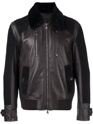 Salvatore Ferragamo Shearling Collar Jacket Brown