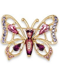 Charter Club Gold Tone Purple Butterfly Pin
