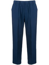 Kiltie Cropped Tailored Trousers Blue