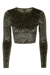 Topshop Leopard Velvet Crop Top Tan