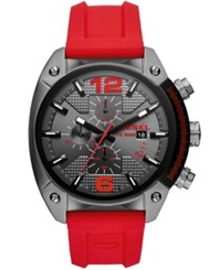 Diesel Chronograph Overflow Red Silicone Strap Watch 49Mm No Color