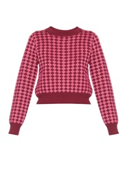 House Of Holland Diamond Intarsia Knit Crop Sweater