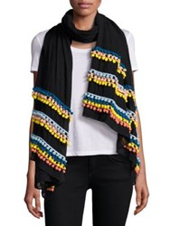 Bindya Pom Pom Scarf Black Multi