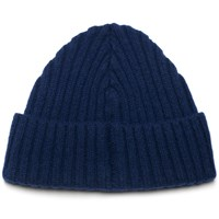 William Fox And Sons Navy Ribbed Wool Beanie Blue