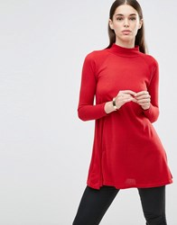 Ax Paris Turtle Neck Knitted Tunic Red