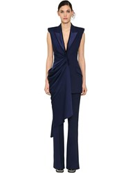 Alexander Mcqueen Long Draped Light Wool And Silk Vest Sapphire Blue