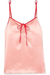 Morgan Lane Serena Bow Detailed Two Tone Silk Satin Camisole Blush