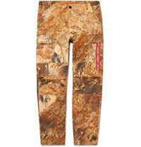 Heron Preston Printed Cotton Cargo Trousers Brown