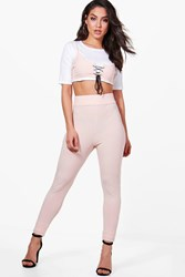 Boohoo 3Pc Lace Up Bralet And Trouser Co Ord Set Nude