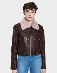 Veda Freeman Jacket With Pink Collar Seal Brown