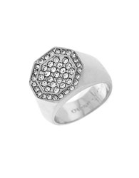 Louise Et Cie Octagonal Paved Ring Silver