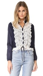 See By Chloe Lace Front Blouse Navy