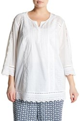 Nydj Summer Love Lace Blouse Plus Size White