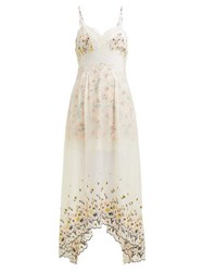 Paco Rabanne Floral Embroidered Chiffon And Satin Dress White Multi