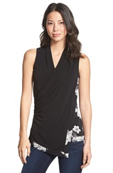 Ellen Tracy Draped Wrap Front Shell Regular And Petite Black Combo