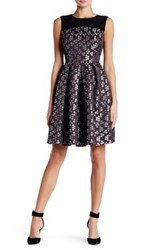 Nine West Printed Fit And Flare Dress Black