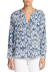Saks Fifth Avenue Red Kaleidoscope Print Blouse Blue Ikat
