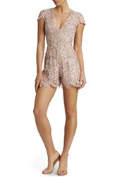 Dress The Population Women's Juliette Plunge Romper Rose Nude
