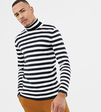 Selected Homme Roll Neck Stripe Long Sleeve Top Black