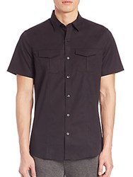 Saks Fifth Avenue Stretch Cotton Military Shirt Black