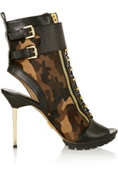 Michael Kors Teagan Camouflage Print Calf Hair And Leather Boots Black
