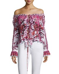 Roberto Cavalli Off Shoulder Rose Print Lace Up Top Pink